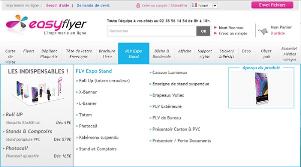 Nouveau menu Easyflyer, l'imprimerie en ligne